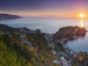 Italy, panoramic landscape photography showing Isola Bella Beach in Taormina, Sicily, Italy, panoramic landscape photography by landscape photographer Matthew Williams-Ellis